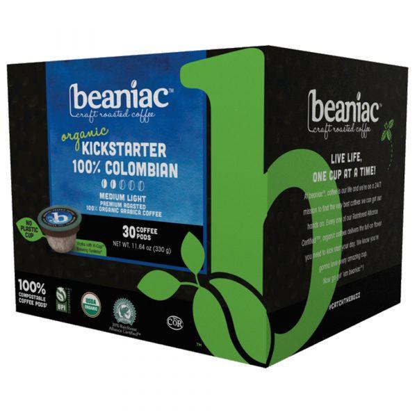 beaniac Kickstarter 100% Colombian Medium light Roast, Rainforest Alliance Certified Organic and Commercially Compostable Coffee Pods