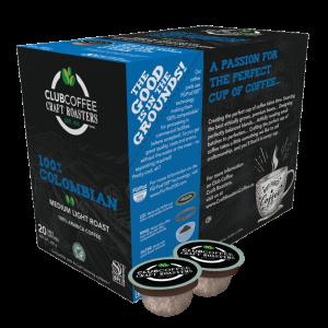club coffee craft roasters colombian single serve coffee pods