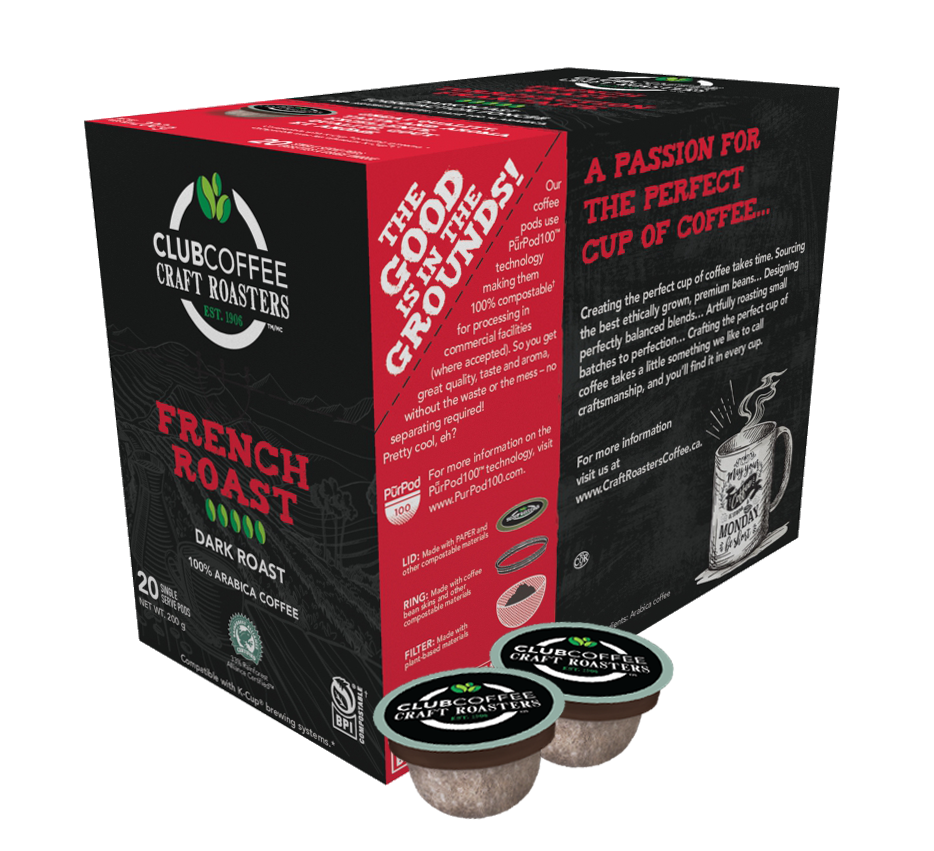 club coffee craft roasters french roast single serve coffee pods